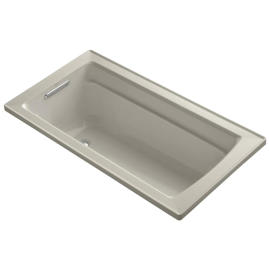 KOHLER Archer Sandbar Acrylic Rectangular Drop-in Bathtub with Reversible Drain (Common: 32-in x 60-in; Actual: 19-in x 32-in x 60-in)