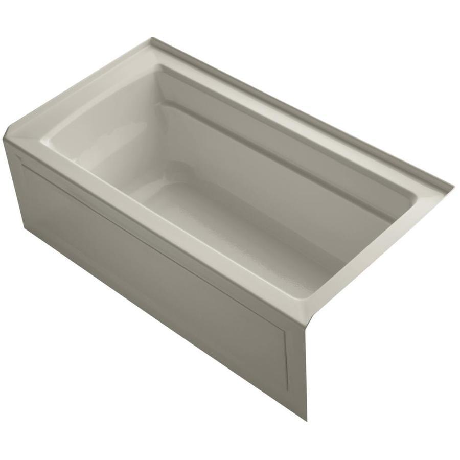 KOHLER Archer Sandbar Acrylic Rectangular Alcove Bathtub with Right-Hand Drain (Common: 32-in x 60-in; Actual: 20.25-in x 32-in x 60-in)