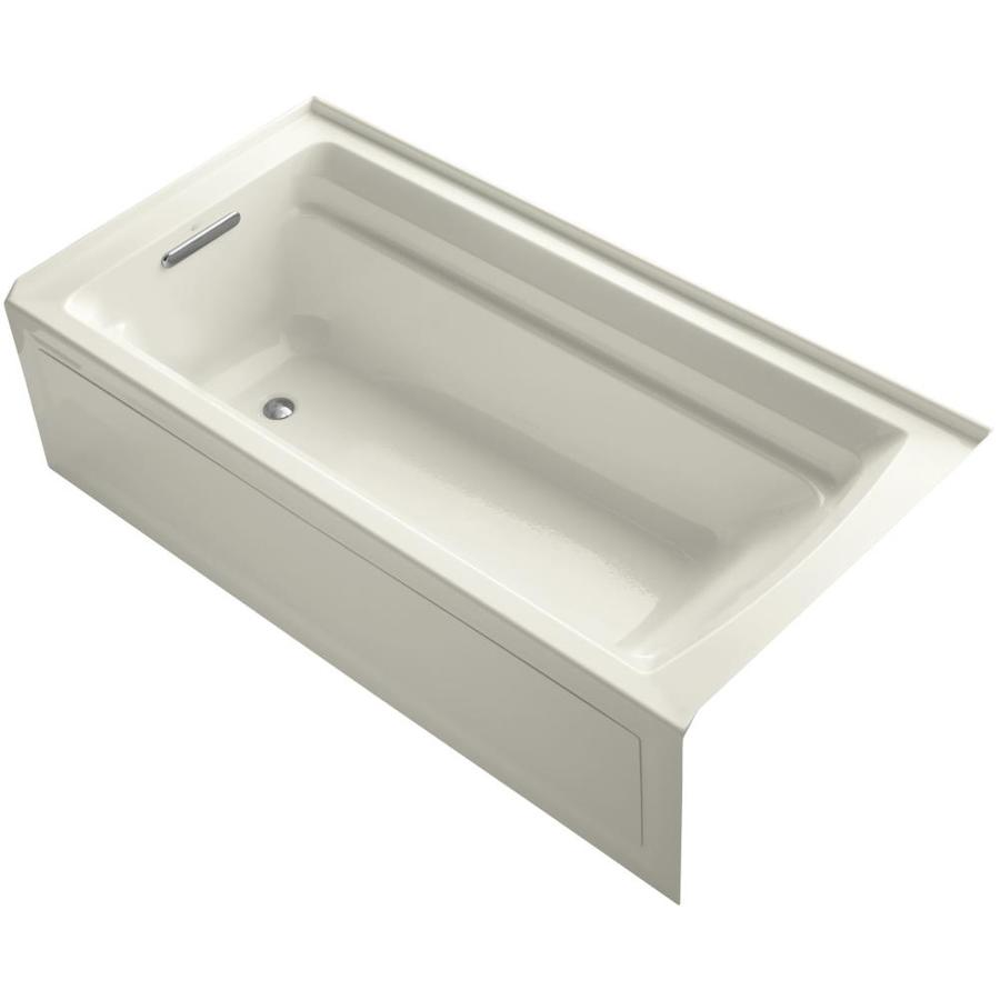 KOHLER Archer Biscuit Acrylic Rectangular Alcove Bathtub with Left-Hand Drain (Common: 36-in x 72-in; Actual: 20.25-in x 36-in x 72-in)