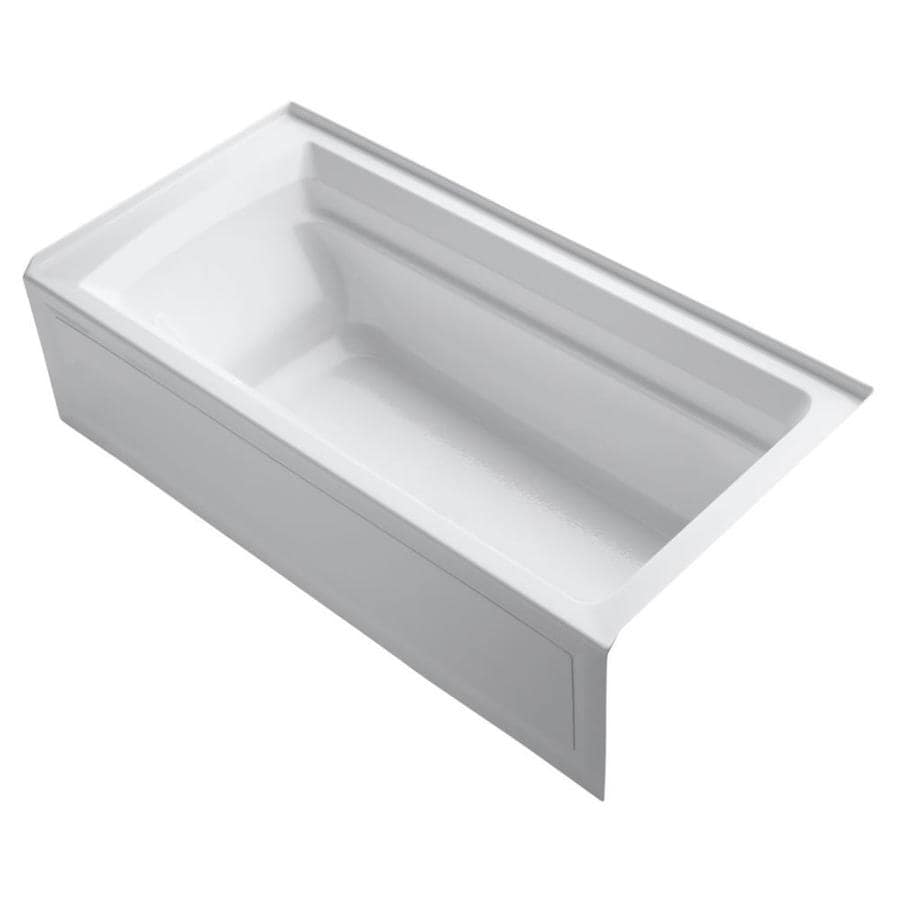 KOHLER Archer White Acrylic Rectangular Alcove Bathtub with Reversible Drain (Common: 36-in x 72-in; Actual: 20.25-in x 36-in x 72-in)