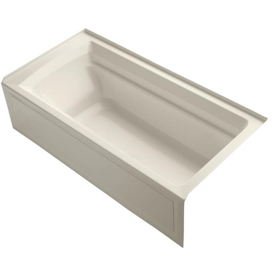 KOHLER Archer Almond Acrylic Rectangular Alcove Bathtub with Reversible Drain (Common: 36-in x 72-in; Actual: 20.25-in x 36-in x 72-in)