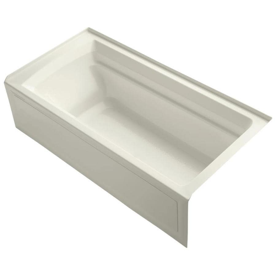 KOHLER Archer Biscuit Acrylic Rectangular Alcove Bathtub with Reversible Drain (Common: 36-in x 72-in; Actual: 20.25-in x 36-in x 72-in)