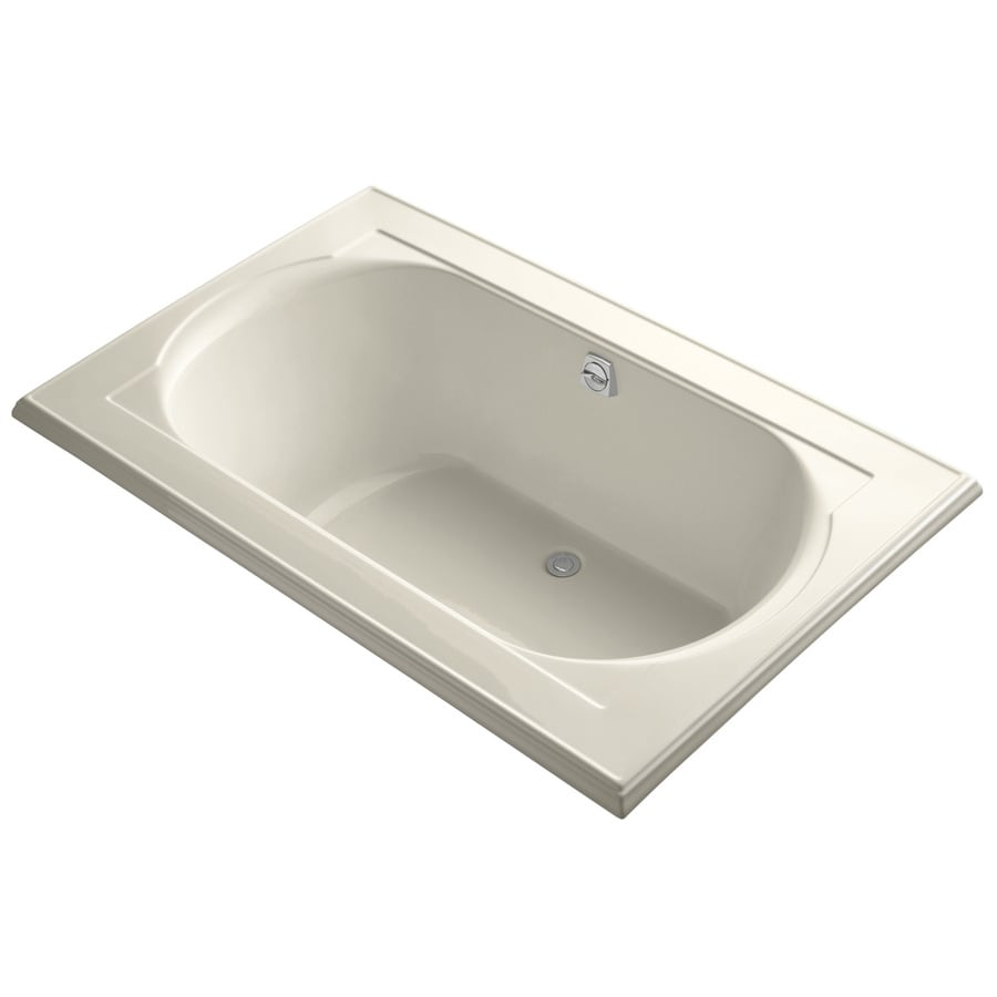 KOHLER Memoirs Almond Acrylic Oval In Rectangle Drop-in Bathtub with Reversible Drain (Common: 42-in x 66-in; Actual: 22-in x 42-in x 66-in)