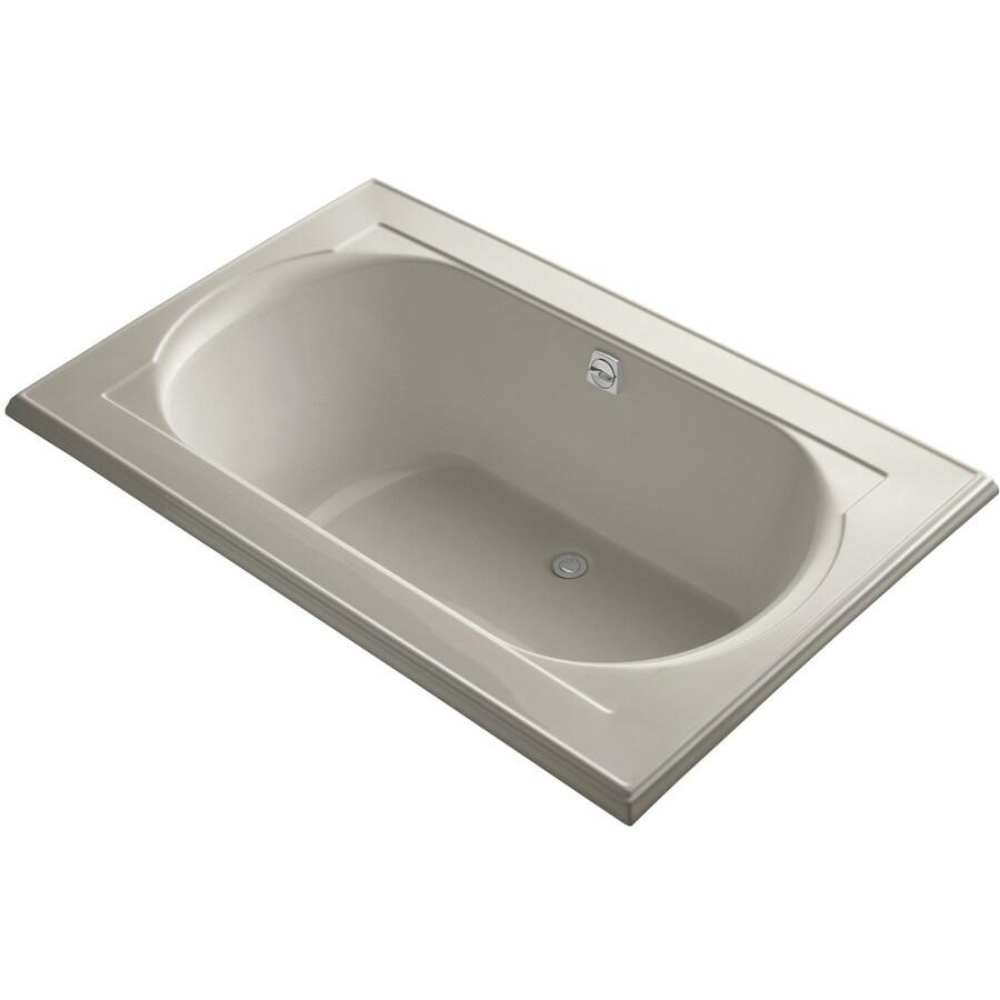 KOHLER Memoirs Sandbar Acrylic Oval In Rectangle Drop-in Bathtub with Reversible Drain (Common: 42-in x 66-in; Actual: 22-in x 42-in x 66-in)
