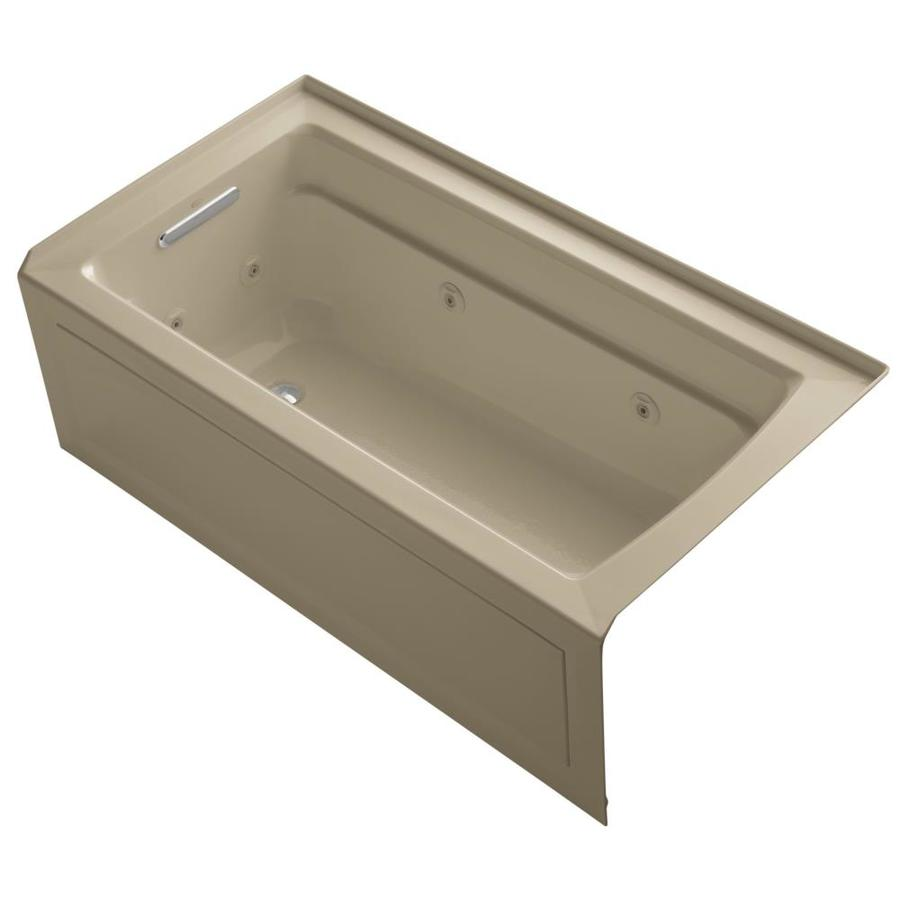 KOHLER Archer Mexican Sand Acrylic Rectangular Alcove Whirlpool Tub (Common: 32-in x 60-in; Actual: 21.25-in x 32-in)
