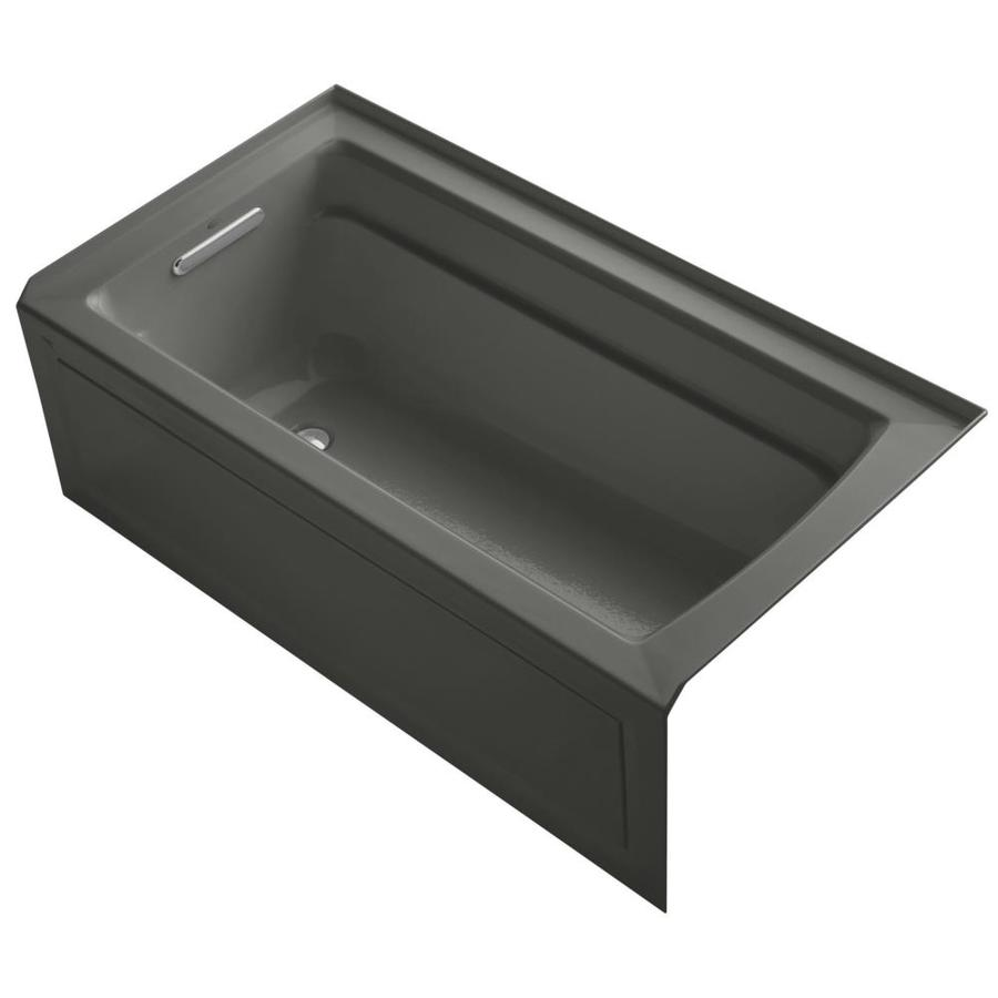 KOHLER Archer Thunder Grey Acrylic Rectangular Alcove Bathtub with Left-Hand Drain (Common: 32-in x 60-in; Actual: 20.25-in x 32-in x 60-in)