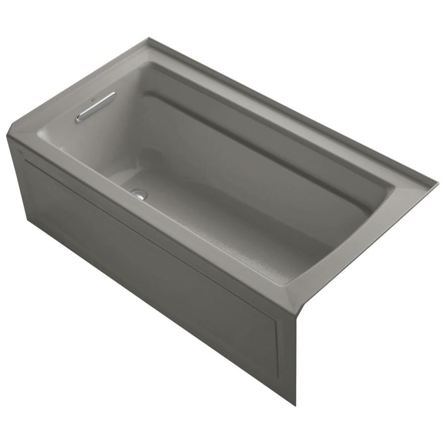 KOHLER Archer Cashmere Acrylic Rectangular Alcove Bathtub with Left-Hand Drain (Common: 32-in x 60-in; Actual: 20.25-in x 32-in x 60-in)