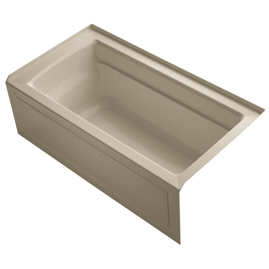 KOHLER Archer Mexican Sand Acrylic Rectangular Alcove Bathtub with Right-Hand Drain (Common: 32-in x 60-in; Actual: 20.25-in x 32-in x 60-in)