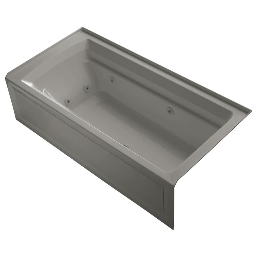 KOHLER Archer Cashmere Acrylic Rectangular Alcove Whirlpool Tub (Common: 36-in x 72-in; Actual: 20.25-in x 36-in)