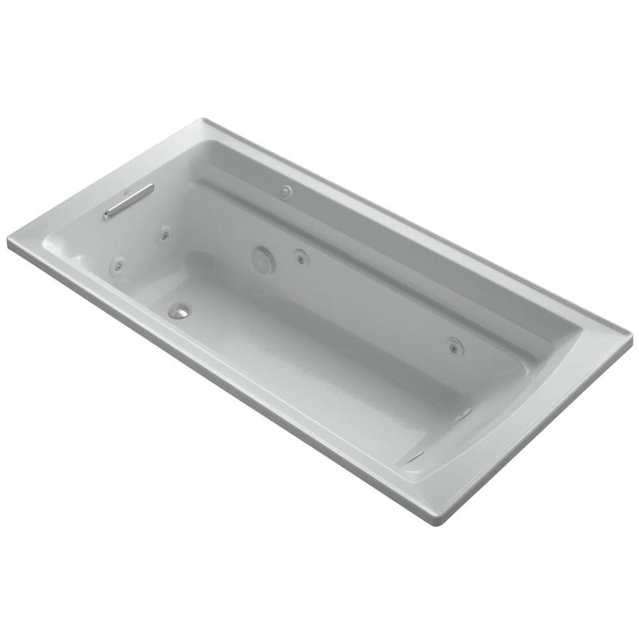 KOHLER Archer Ice Grey Acrylic Rectangular Drop-in Whirlpool Tub (Common: 36-in x 72-in; Actual: 19-in x 36-in)