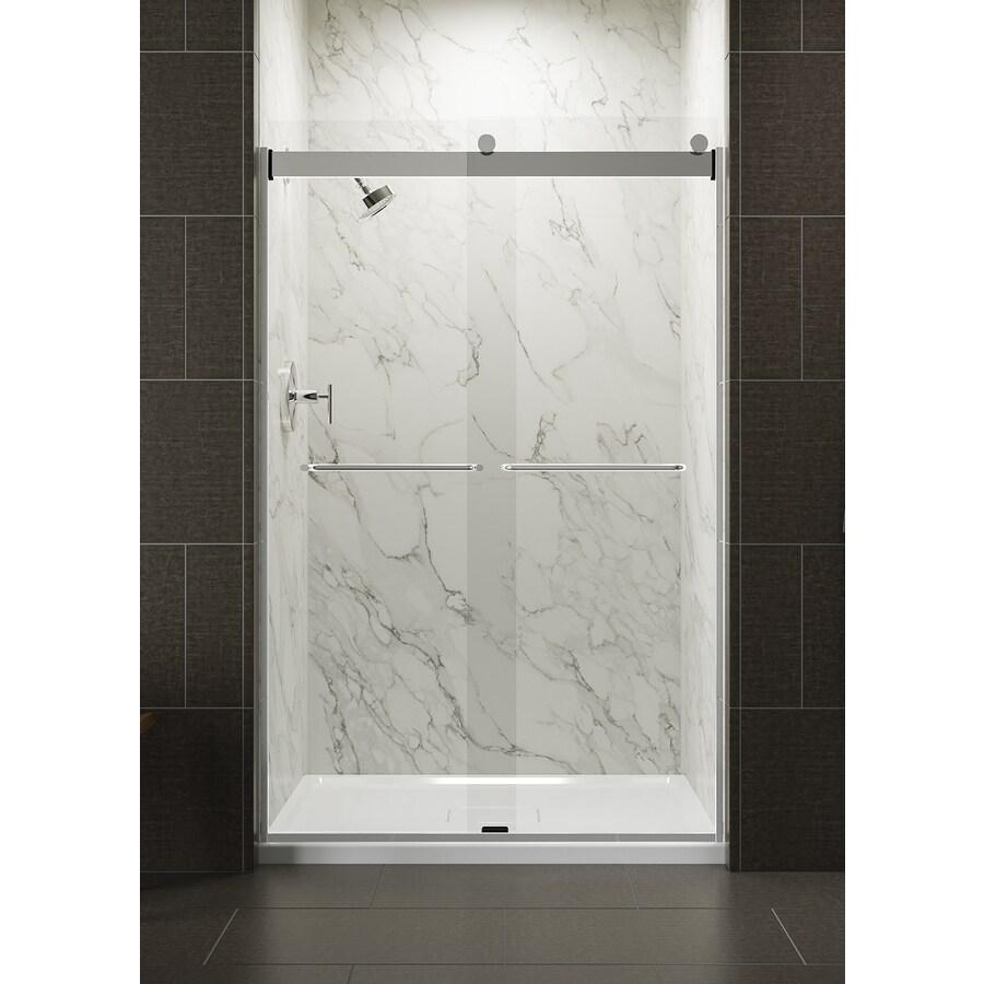 KOHLER Levity 44-in to 47-in W x 74-in H Bright Silver Sliding Shower Door