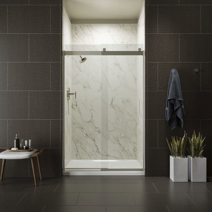 KOHLER Levity 44-in to 47-in W x 74-in H Brushed Nickel Sliding Shower Door