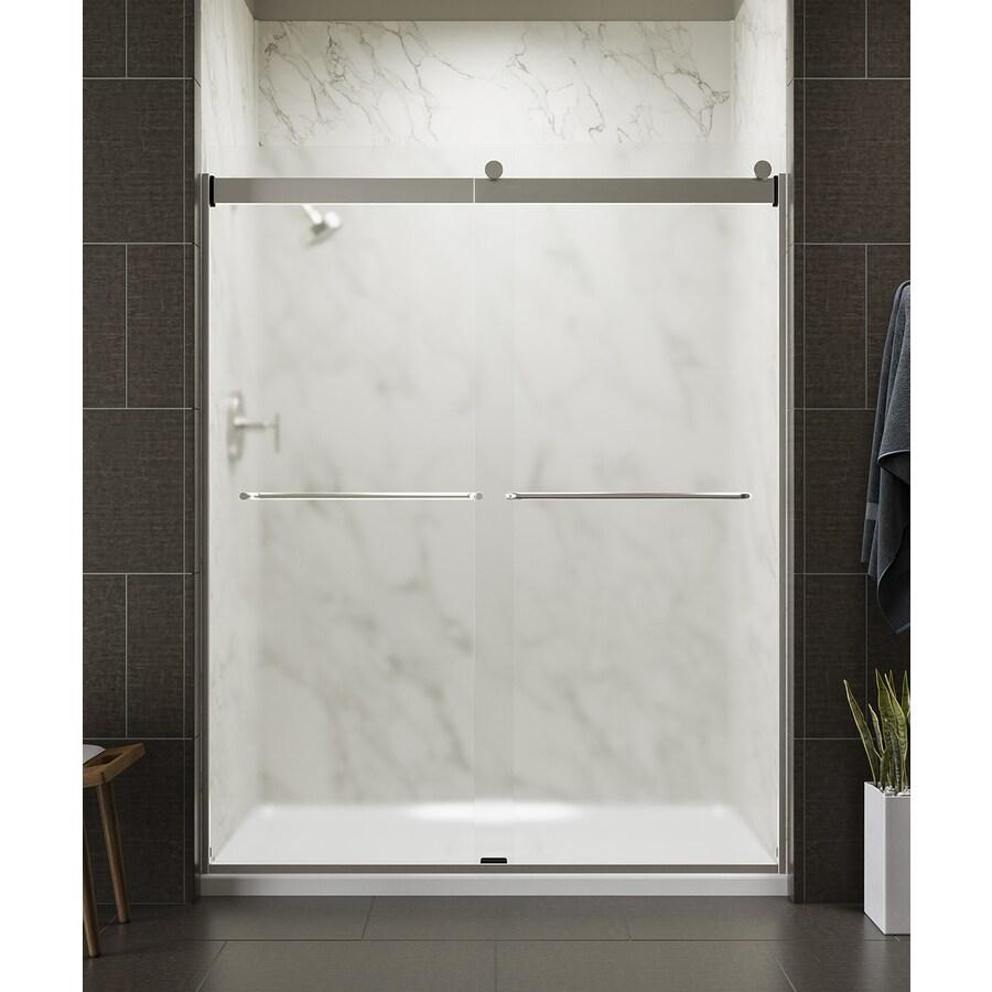 KOHLER Levity 56-in to 59-in W x 74-in H Matte Nickel Sliding Shower Door