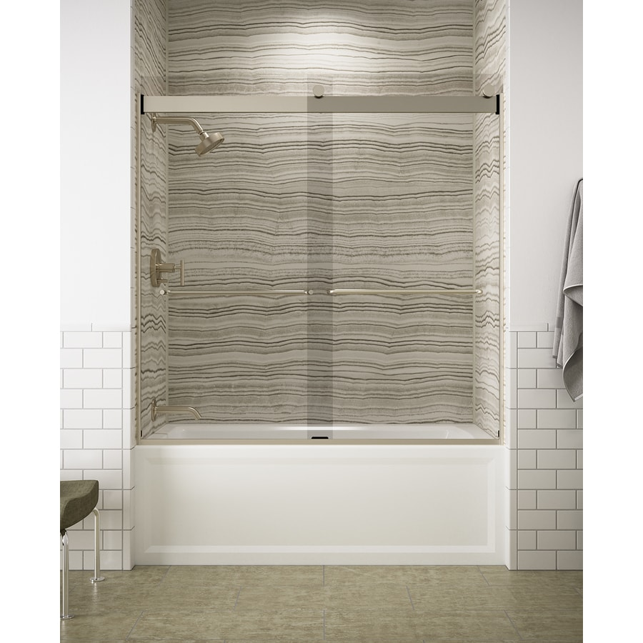 KOHLER Levity 59.625-in W x 59.75-in H Frameless Bathtub Door