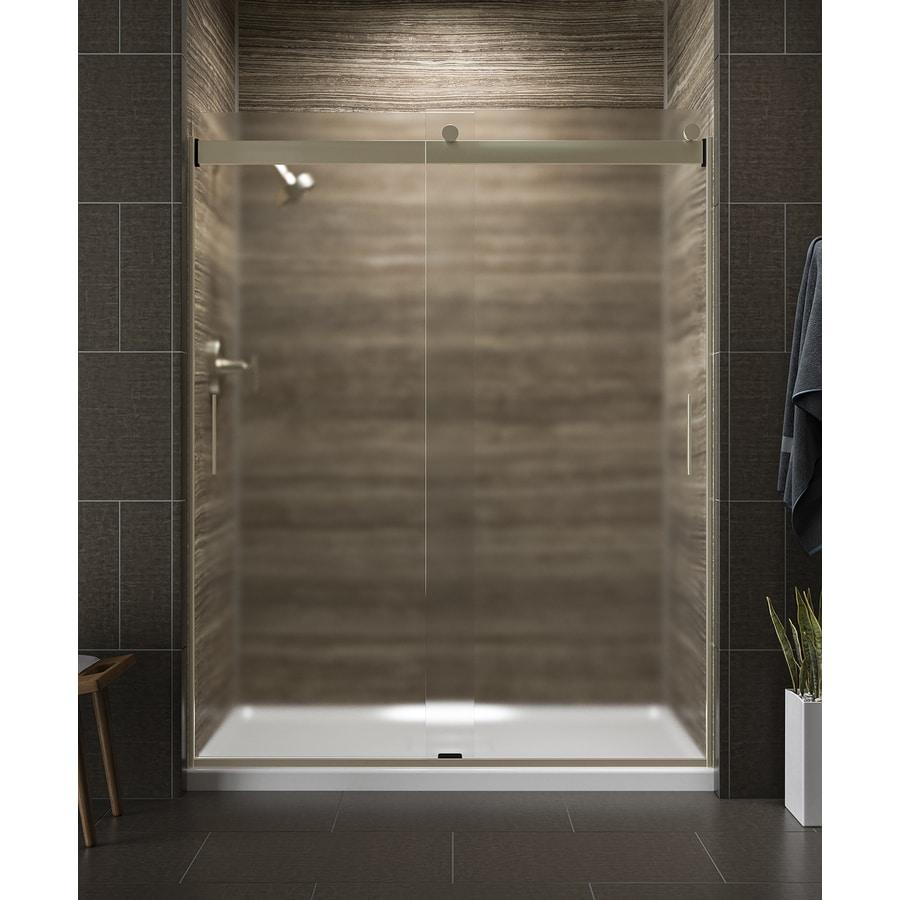 KOHLER Levity 56-in to 59-in W x 74-in H Brushed Bronze Sliding Shower Door