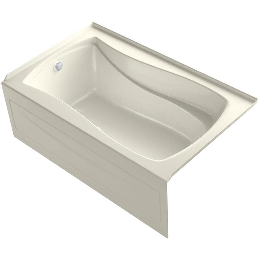 KOHLER Mariposa 60-in L x 36-in W x 21.25-in H Biscuit Acrylic Hourglass In Rectangle Alcove Air Bath