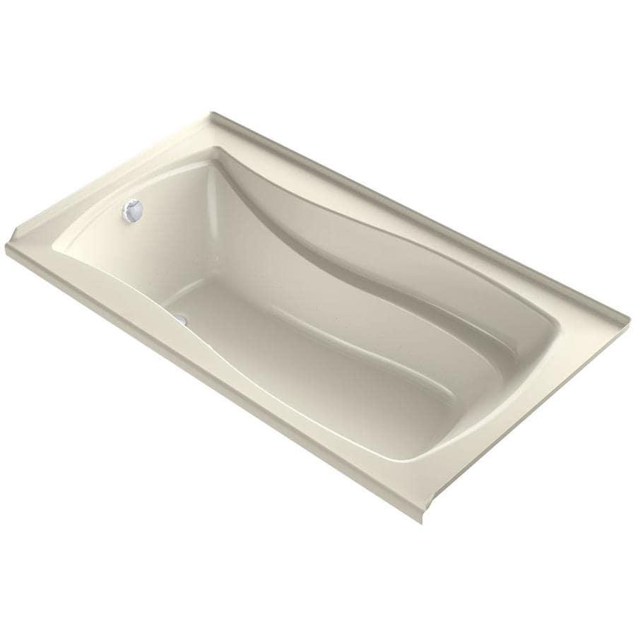 KOHLER Mariposa 66-in L x 36-in W x 21.25-in H Almond Acrylic Rectangular Alcove Air Bath