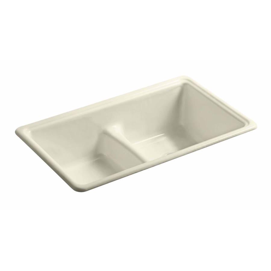 KOHLER 19.375-in x 33-in Cane Sugar Double-Basin Cast Iron Undermount (Customizable)-Hole Residential Kitchen Sink