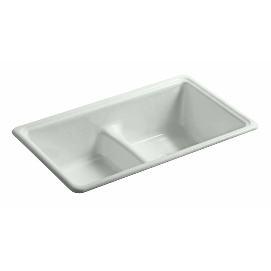 KOHLER 19.375-in x 33-in Sea Salt Double-Basin Cast Iron Undermount (Customizable)-Hole Residential Kitchen Sink