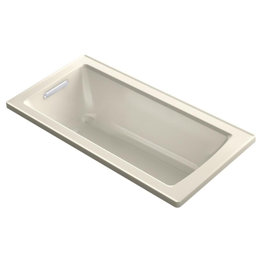 KOHLER Archer Almond Acrylic Rectangular Drop-in Bathtub with Reversible Drain (Common: 30-in x 60-in; Actual: 19-in x 30-in x 60-in)