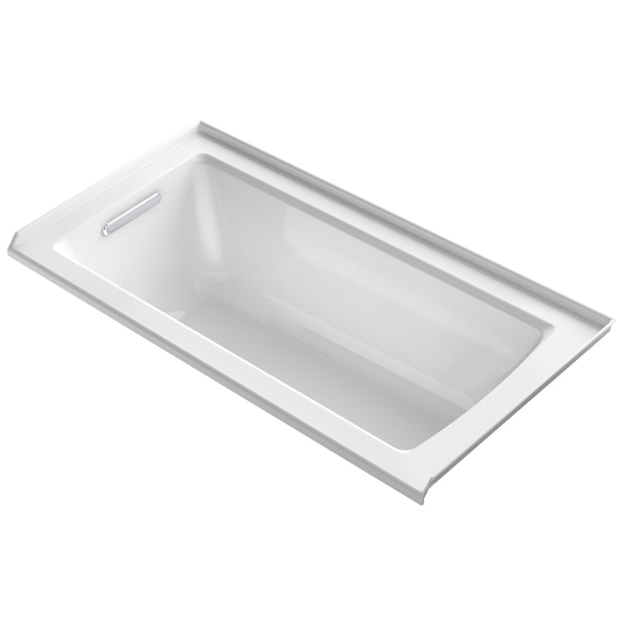 KOHLER Archer White Acrylic Rectangular Alcove Bathtub with Left-Hand Drain (Common: 30-in x 60-in; Actual: 19-in x 30-in x 60-in)