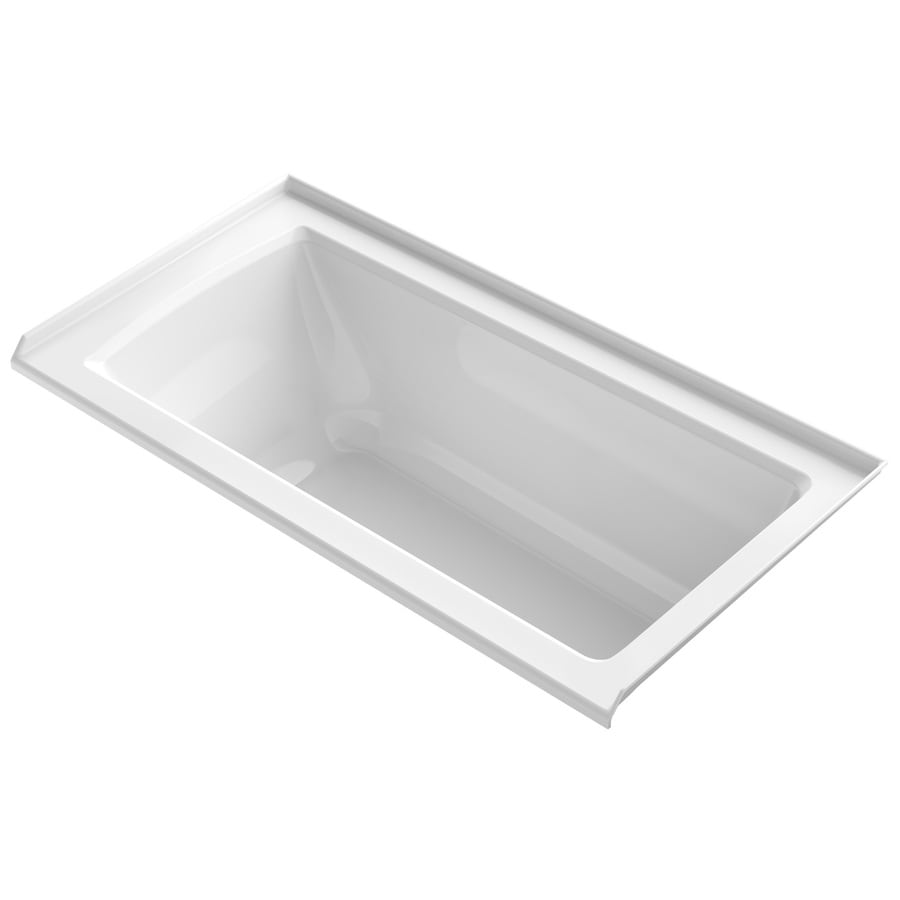KOHLER Archer White Acrylic Rectangular Alcove Bathtub with Right-Hand Drain (Common: 30-in x 60-in; Actual: 19-in x 30-in x 60-in)