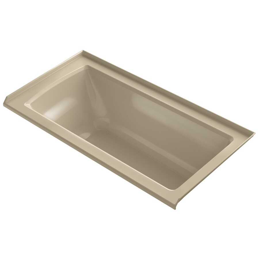 KOHLER Archer Almond Acrylic Rectangular Alcove Bathtub with Right-Hand Drain (Common: 30-in x 60-in; Actual: 19-in x 30-in x 60-in)