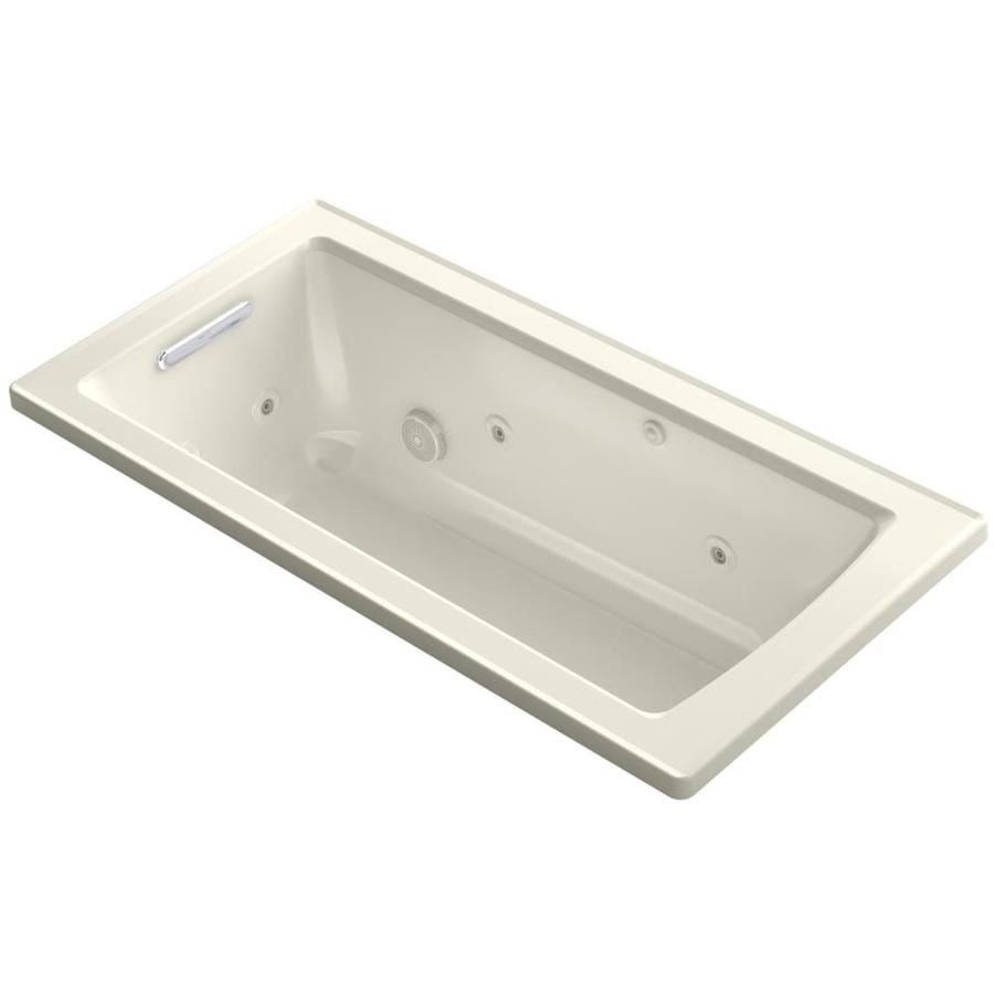 KOHLER Archer Biscuit Acrylic Rectangular Drop-in Whirlpool Tub (Common: 30-in x 60-in; Actual: 19-in x 30-in)