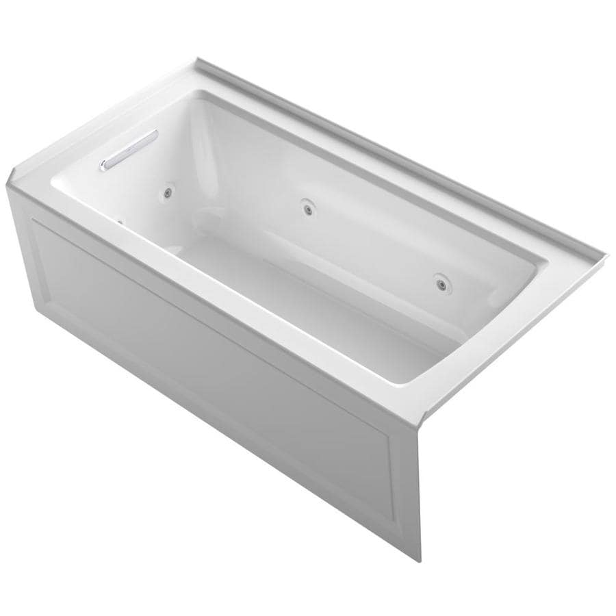 KOHLER Archer White Acrylic Rectangular Alcove Whirlpool Tub (Common: 30-in x 60-in; Actual: 19-in x 30-in)