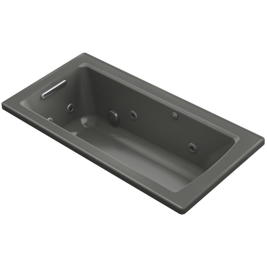 KOHLER Archer Thunder Grey Acrylic Rectangular Drop-in Whirlpool Tub (Common: 30-in x 60-in; Actual: 19-in x 30-in)