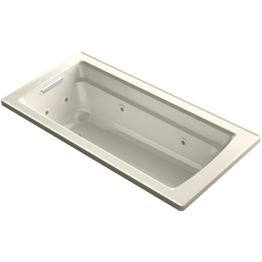 KOHLER Acher Almond Acrylic Rectangular Drop-in Whirlpool Tub (Common: 32-in x 66-in; Actual: 19-in x 32-in)