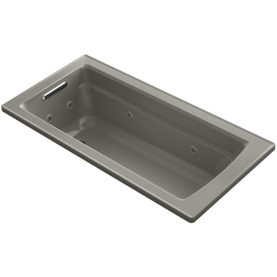 KOHLER Acher Cashmere Acrylic Rectangular Drop-in Whirlpool Tub (Common: 32-in x 66-in; Actual: 19-in x 32-in)