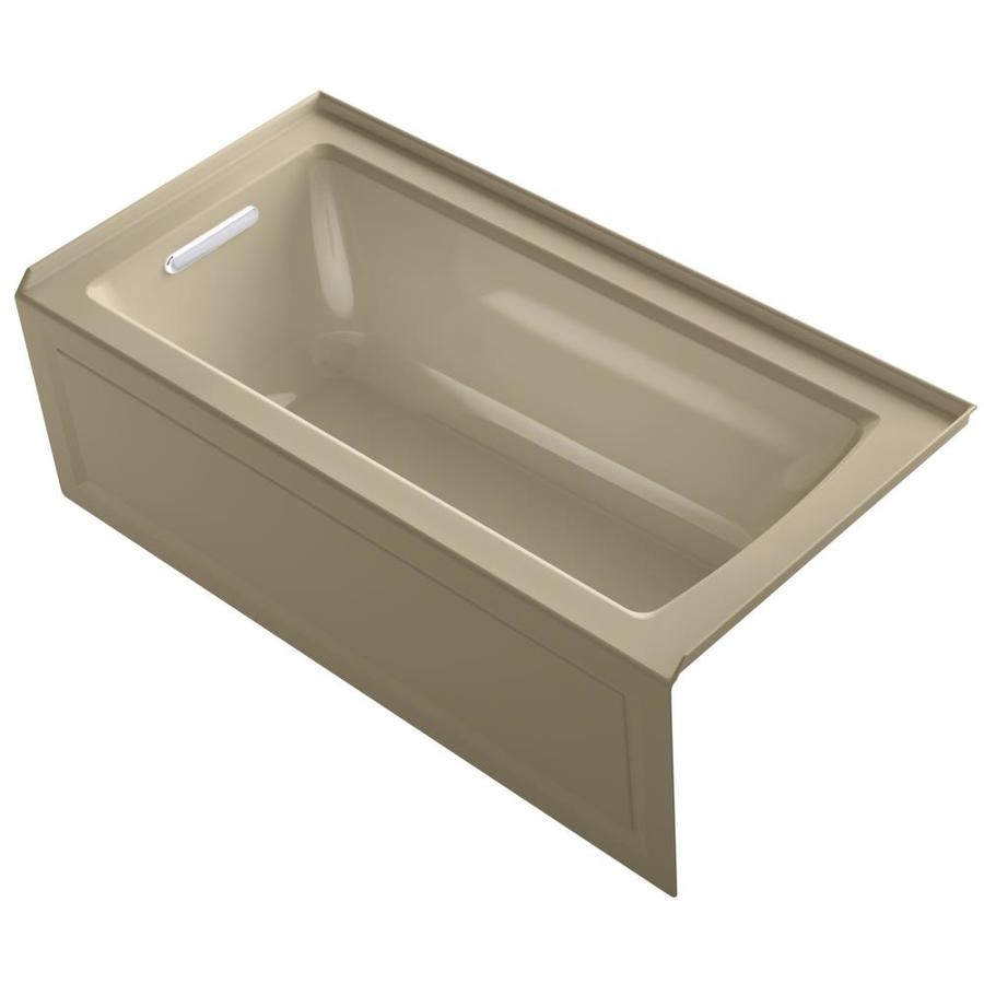 KOHLER Archer Mexican Sand Acrylic Rectangular Alcove Bathtub with Left-Hand Drain (Common: 30-in x 60-in; Actual: 19-in x 30-in x 60-in)