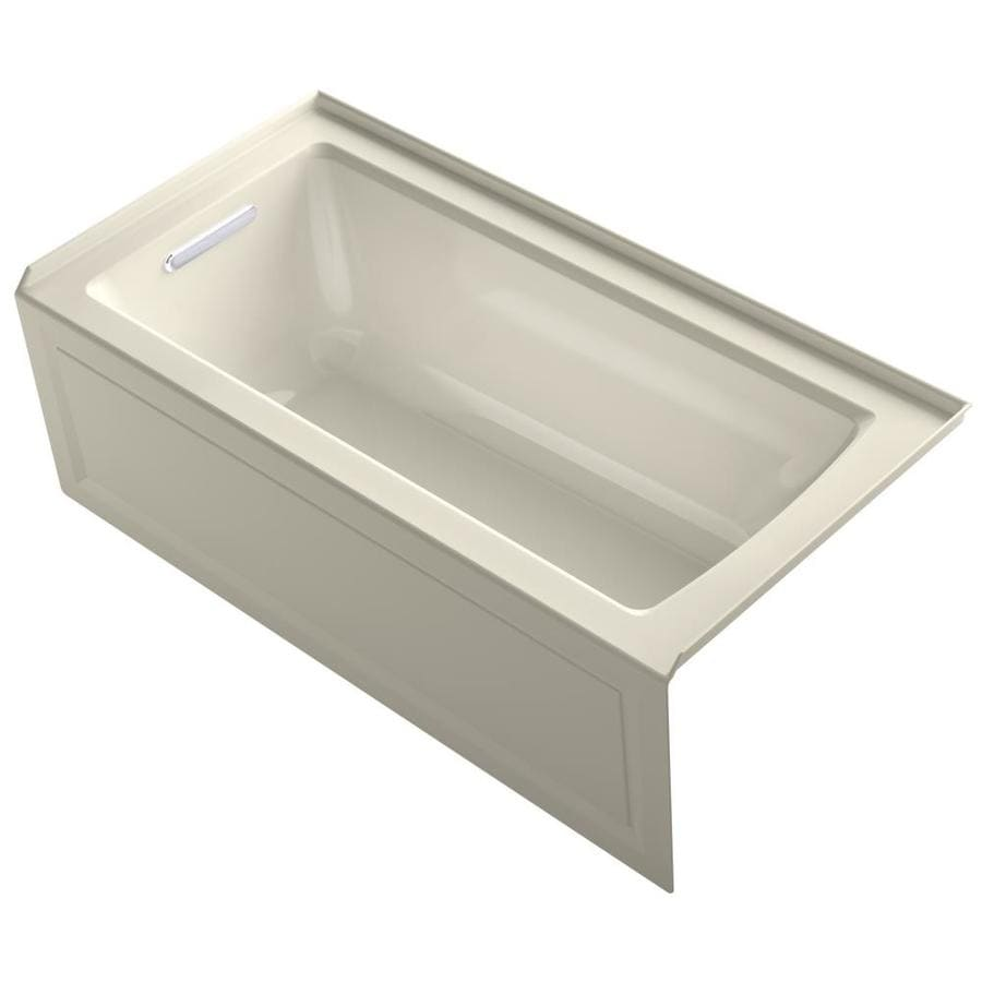 KOHLER Archer Almond Acrylic Rectangular Alcove Bathtub with Left-Hand Drain (Common: 30-in x 60-in; Actual: 19-in x 30-in x 60-in)