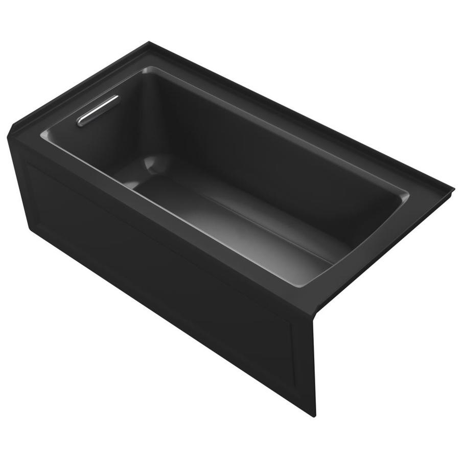 KOHLER Archer Black Acrylic Rectangular Alcove Bathtub with Left-Hand Drain (Common: 30-in x 60-in; Actual: 19-in x 30-in x 60-in)