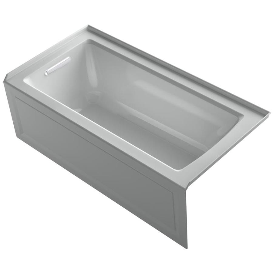 KOHLER Archer Ice Grey Acrylic Rectangular Alcove Bathtub with Left-Hand Drain (Common: 30-in x 60-in; Actual: 19-in x 30-in x 60-in)