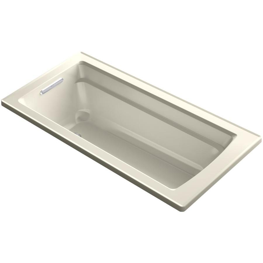 KOHLER Archer Almond Acrylic Rectangular Drop-in Bathtub with Reversible Drain (Common: 32-in x 66-in; Actual: 19-in x 32-in x 66-in)