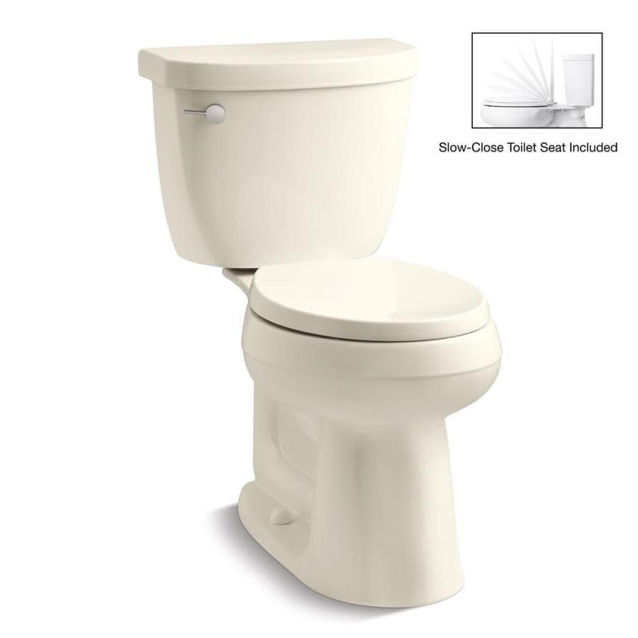 KOHLER Cimarron Biscuit 1.28-GPF (4.85-LPF) 12 Rough-In WaterSense Round 2-Piece Chair Height Toilet