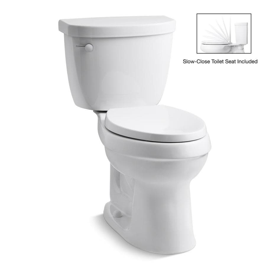 KOHLER Cimarron White 1.28-GPF (4.85-LPF) 12 Rough-In WaterSense Elongated 2-Piece Chair Height Toilet