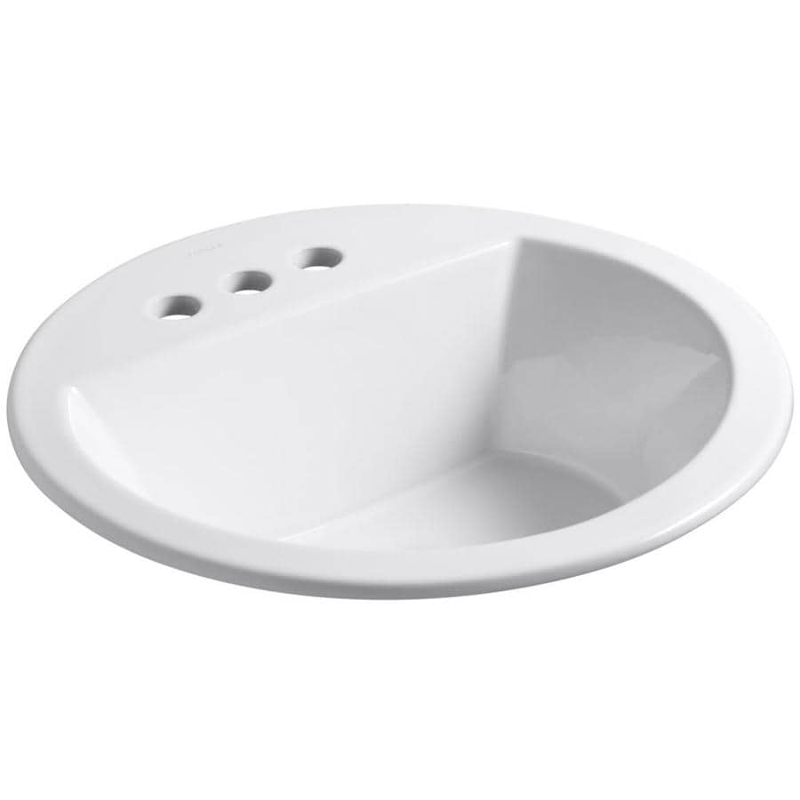 KOHLER Bryant White Drop-in Round Bathroom Sink with Overflow