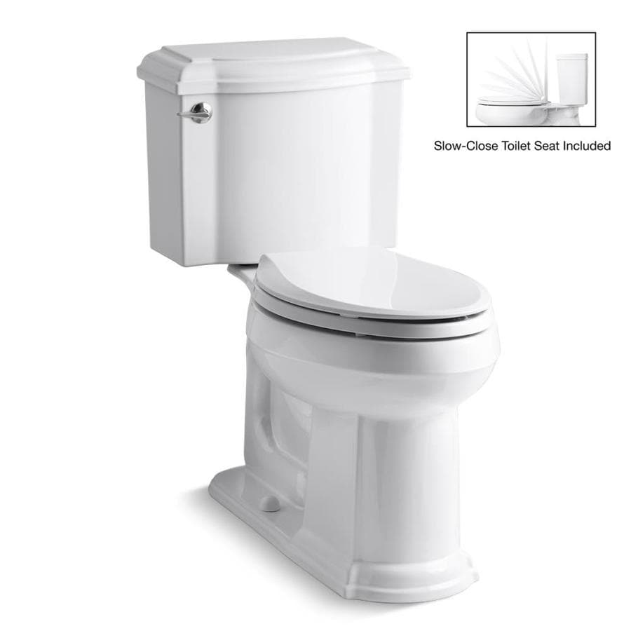 KOHLER Devonshire White 1.28-GPF (4.85-LPF) 12 Rough-In WaterSense Elongated 2-Piece Chair Height Toilet