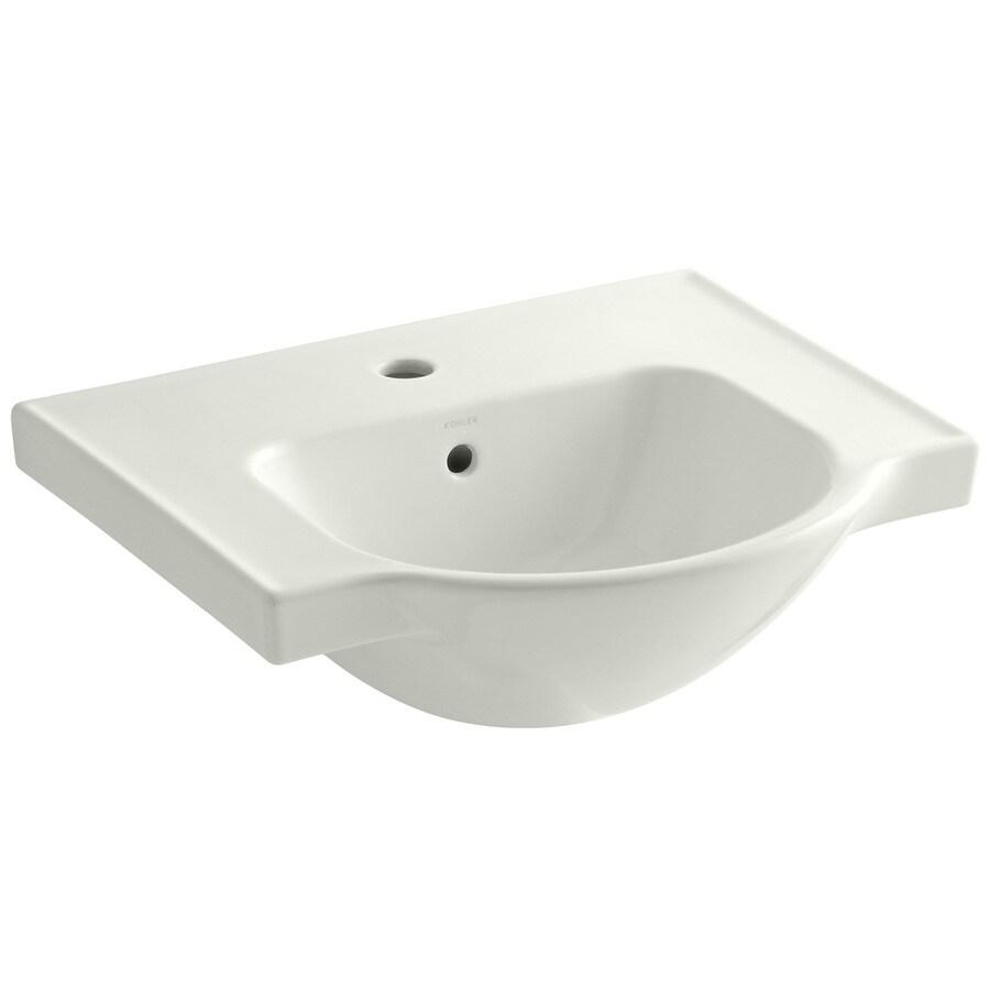 KOHLER Veer 18.25-in L x 21-in W Dune Vitreous China Rectangular Pedestal Sink Top