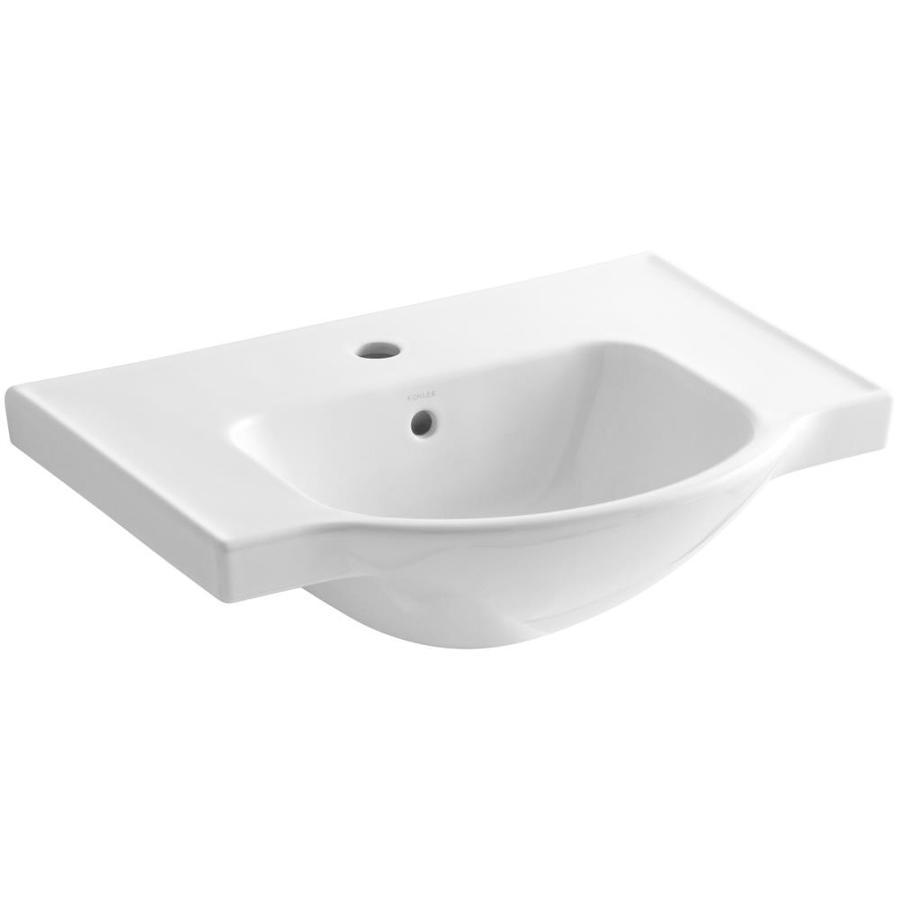 KOHLER Veer 8.5-in H White Vitreous China Pedestal Sink