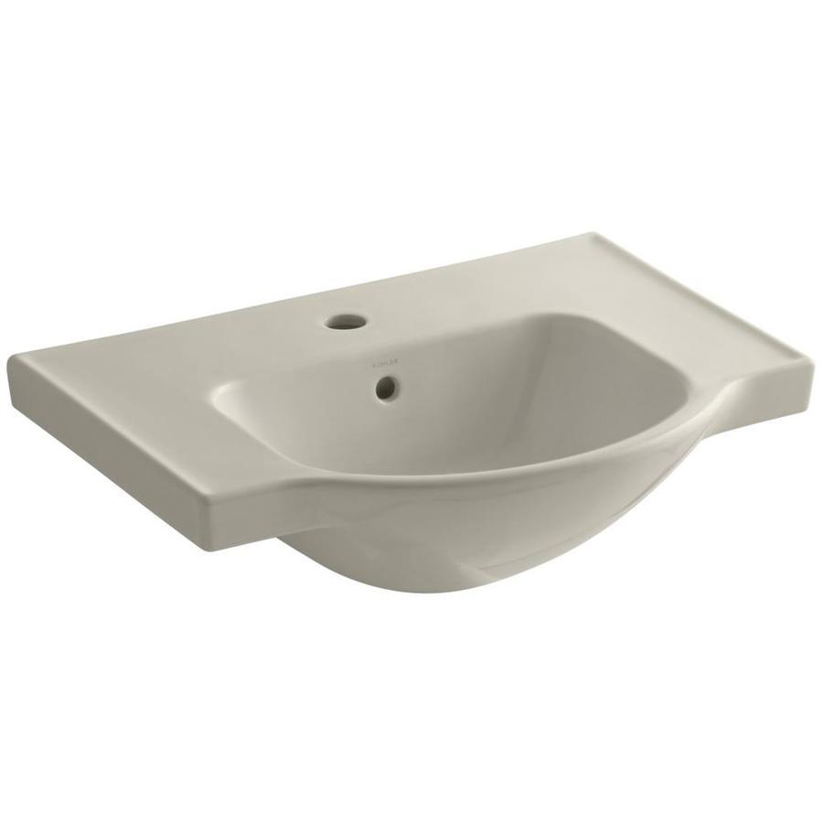 KOHLER Veer 18.25-in L x 24-in W Sandbar Vitreous China Rectangular Pedestal Sink Top