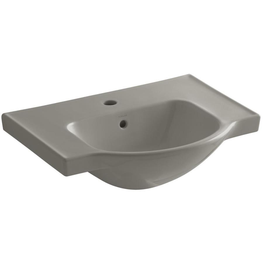KOHLER Veer 18.25-in L x 24-in W Cashmere Vitreous China Rectangular Pedestal Sink Top