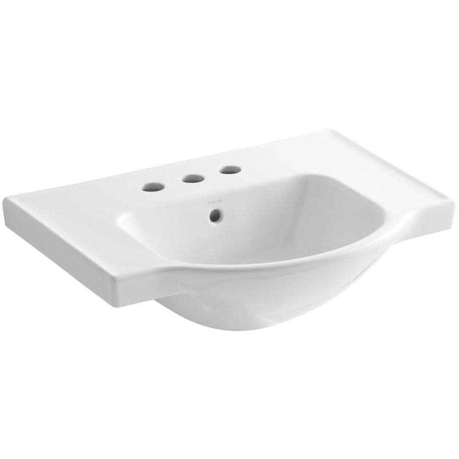 KOHLER Veer 18.25-in L x 24-in W White Vitreous China Rectangular Pedestal Sink Top