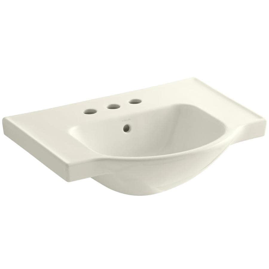 KOHLER Veer 18.25-in L x 24-in W Biscuit Vitreous China Rectangular Pedestal Sink Top