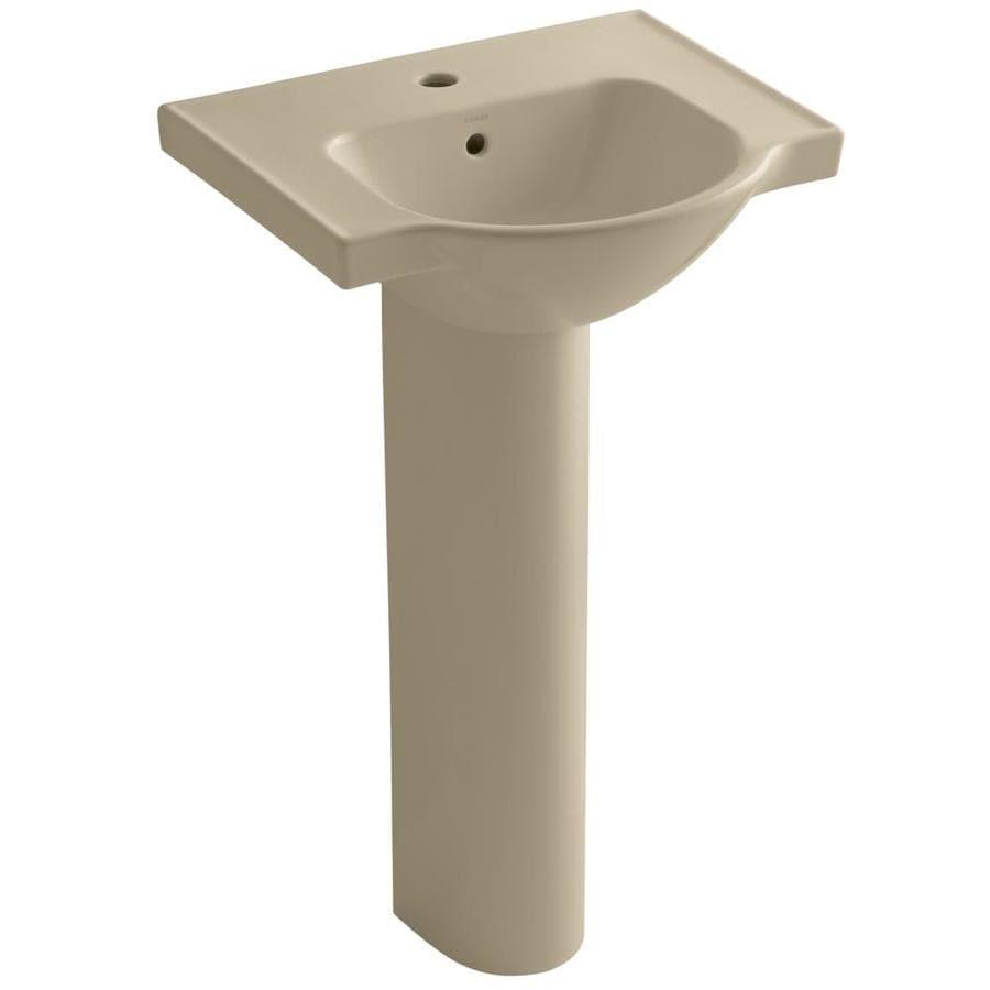 KOHLER Veer 35.5-in H Mexican Sand Vitreous China Pedestal Sink