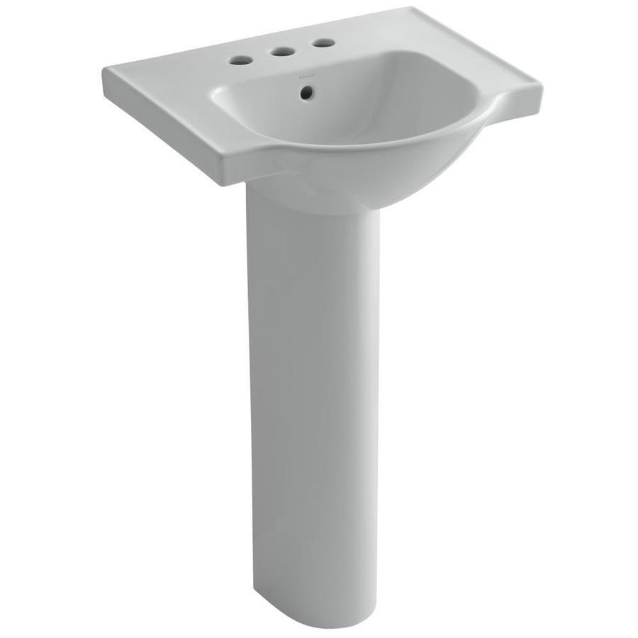 KOHLER Veer 35.5-in H Ice Grey Vitreous China Pedestal Sink