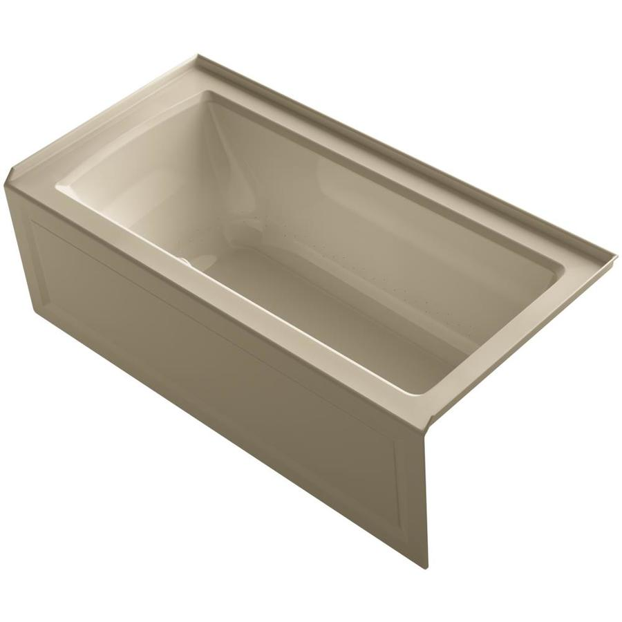 KOHLER Underscore 60-in L x 30-in W x 19-in H Mexican Sand Acrylic Rectangular Drop-in Air Bath